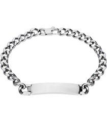 bracciale in acciaio a maglie con targhetta incidibile per uomo