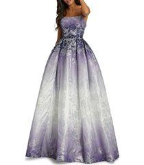 mac duggal women's metallic floral ball gown - purple rain - size 6