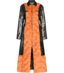 supriya lele faux fur vinyl coat - black