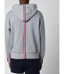 thom browne men's tricolour stripe classic loopback hoodie - grey - 4/xl