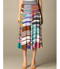 missoni skirt missoni wide skirt in striped cotton and wool