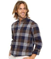 camisa marrón tommy hilfiger slim fit flannel gingham nf3