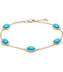saks fifth avenue women's 14k yellow gold & turquoise bracelet