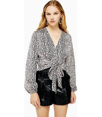 animal print tie front blouse - pink