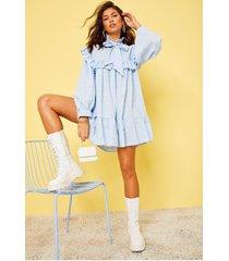 gesmokte jurk met ruches en strik, blauw
