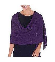100% alpaca shawl, 'grape zigzag' (peru)