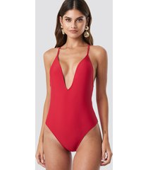 na-kd swimwear tied back plunge swimsuit - red