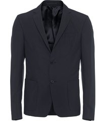 prada technical poplin single-breasted jacket - black