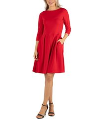 24seven comfort apparel women's knee length fit and flare dress with pockets