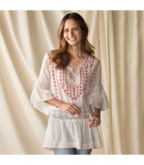 tunic with pink embroidery