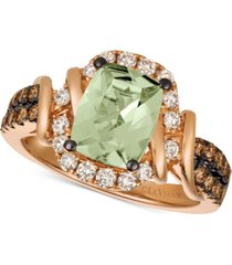 le vian chocolate & nude mint julep quartz (1-3/4 ct. t.w.) & diamond (5/8 ct. t.w.) ring in 14k rose gold