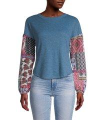 baea women's mixed-print thermo top - denim blue - size l