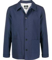 a.p.c. martin tonal-seersucker jacket - blue