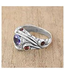 amethyst and garnet cocktail ring, 'forest sprite' (indonesia)