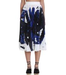 off-white bluebrush strok skirt in blue silk