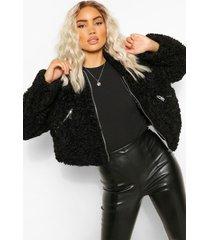 zacht faux fur jasje met zakdetail, zwart