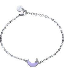 bracciale con luna lilla in acciaio e strass per donna