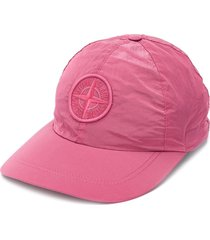 stone island embroidered patch cap - pink