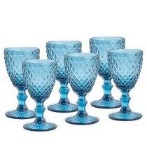 conjunto 6 taças de água lyor 6464 vidro azul 325ml