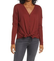 bobeau thermal knit button-up top, size x-small in mahogany at nordstrom