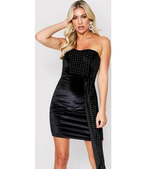 velvet bardot dress, black