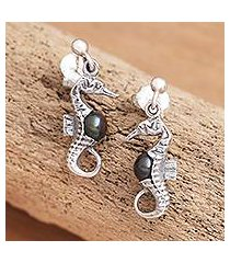 cultured pearl dangle earrings, 'amed night seahorse' (indonesia)