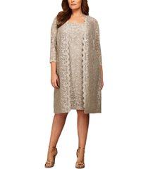 alex evenings plus size lace sheath dress and jacket