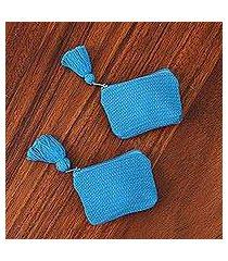 cotton coin purses, 'blue cuties' (pair) (mexico)