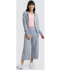 pantalón culotte mujer unicolor color gris, talla 10