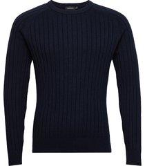 jace-contrast knit gebreide trui met ronde kraag blauw j. lindeberg