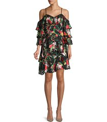 floral-print cold-shoulder shift dress