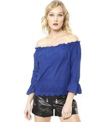 blusa skyla off shoulder azul only - calce regular