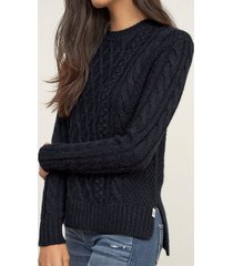 attractive solid color round collar twist wave side slit pullover sweater for women
