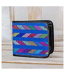 cotton accent leather wallet, 'colors of the sea in black' (guatemala)