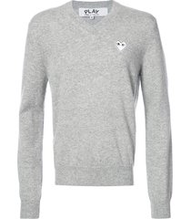 comme des garçons play v-neck pullover with white heart - grey