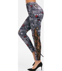 high waist star rose print pencil pants