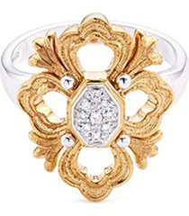 'opera' diamond 18k white and yellow gold floral ring