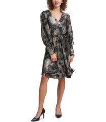 calvin klein foil-printed belted dress