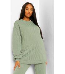 zwangerschaps gewatteerde oversized sweater met stiksels, khaki