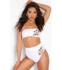 mix & match bandeau applique bikini top, white
