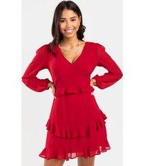 kelsee tiered ruffle mini dress - berry