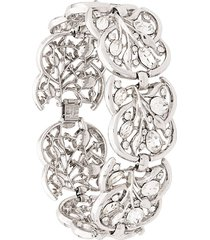 susan caplan vintage 1960s trifari stylised bracelet - silver