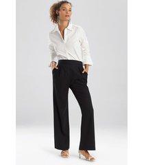 natori solid linen wide leg pants, women's, size m