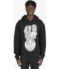 ih nom uh nit black cotton hoodie with david statue print