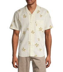madewell men's easy-fit floral linen-blend shirt - white - size m