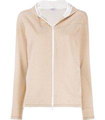 brunello cucinelli zip-up long-sleeved hoodie - brown