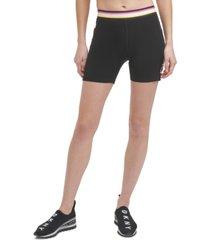 dkny sport women's multi-stripe elastic shorts