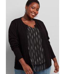lane bryant women's button-front cardigan 10/12 black
