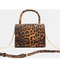makensie leopard top handle mini handbag - leopard