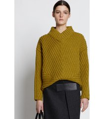 proenza schouler cable rib sweater chartreuse/green l